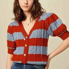 Женский шерстяной кардиган argyle повседневный осенний свитер