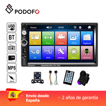 Podofo 7 radio radio rádio do carro 2 din display digital tela de toque bluetooth autoradio mp5 estéreo multimídia player mp5