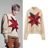 New Spot 18 autumn new color matching geometric knitwear star same coarse needle cut out versatile short sweater