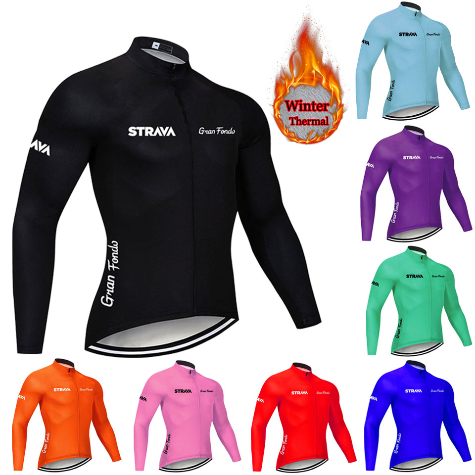strava 2019 Cycling Jersey Fleece Winter Thermal Cycling Bicycle Jersey Jacket Winter Warm Moutain Bike Clothing