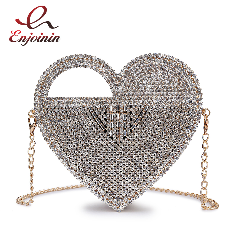 Luxury Heart Shaped Diamond Evening Clutch Bag Women 2021 New Purses and Handbags Designer Hollow Out Metal Shoulder Chain Bag