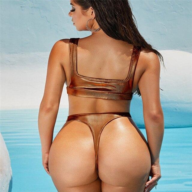 Marron Invisible rayure Maillot De Bain Maillot De Bain femmes Sexy string Bikinis natation maillots De Bain Maillot De Bain Vikinis Para Mujer 2020