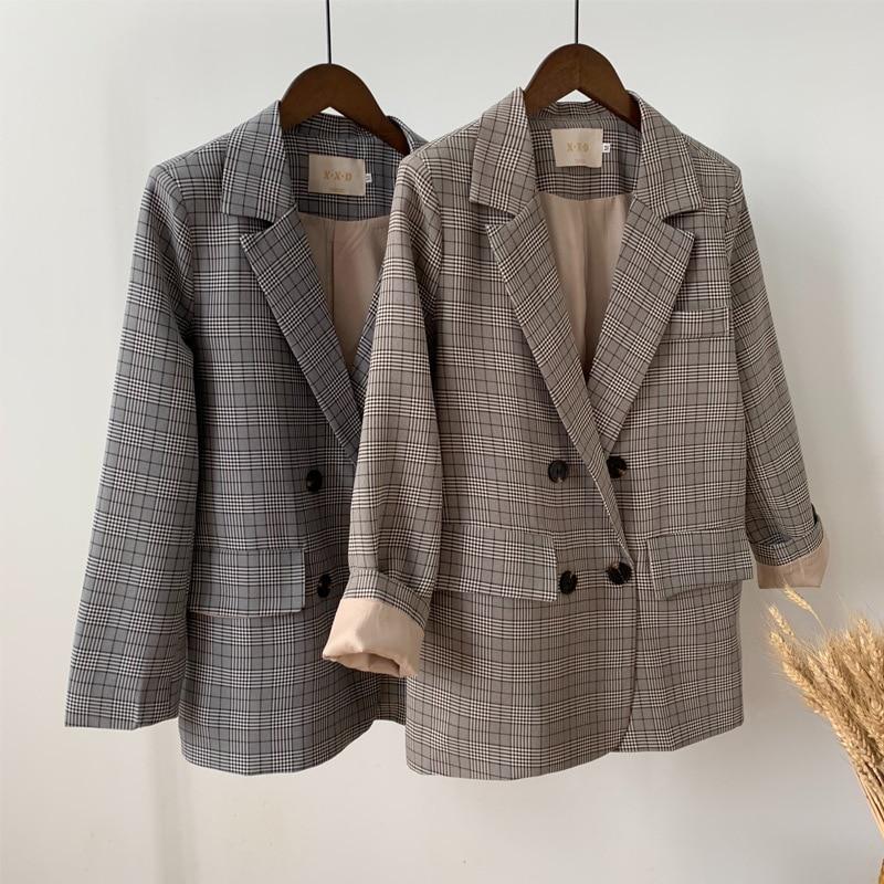 Mooirue Spring Elegant Women Blazer Plaid Loose Coat Woman Loose Casual Jacket