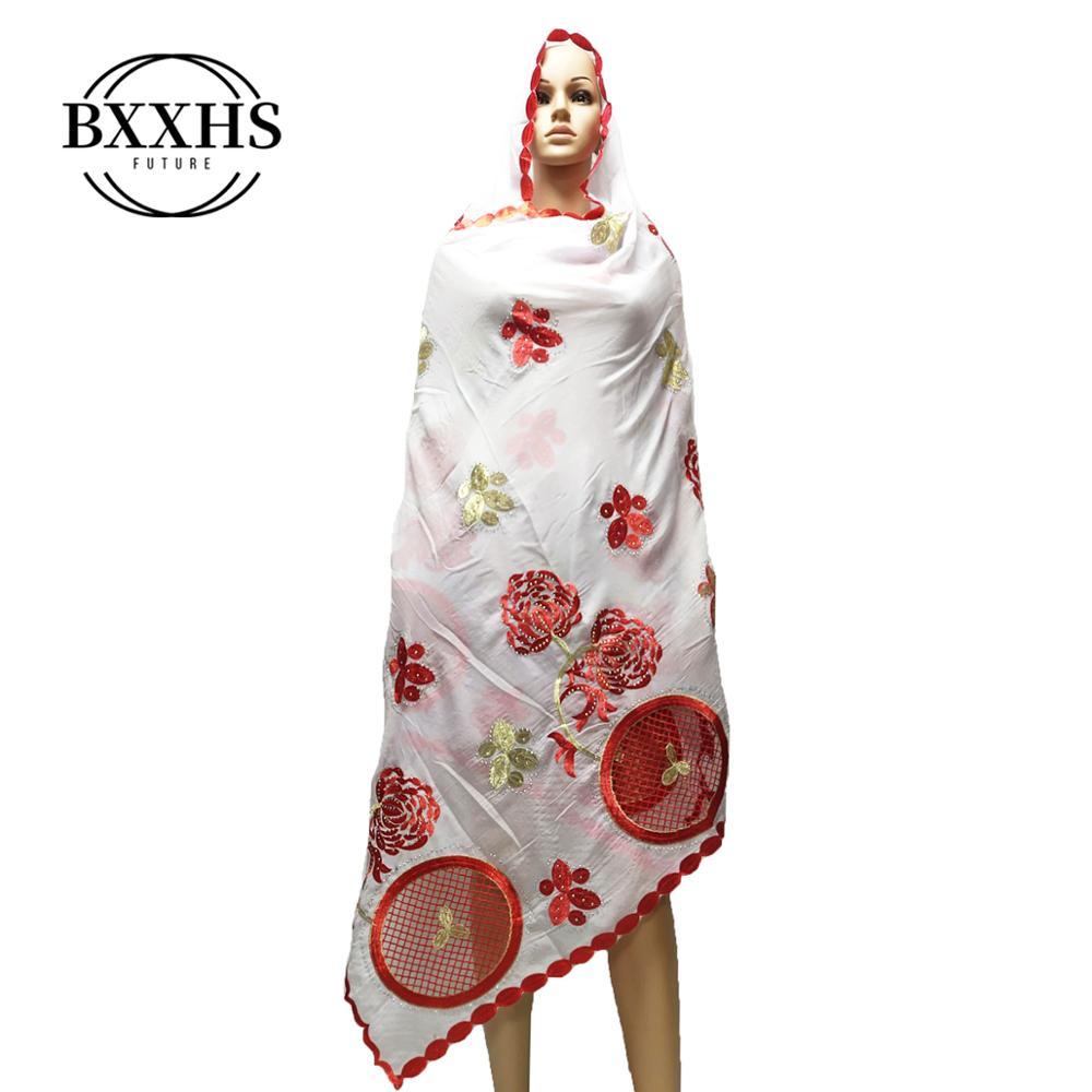 New African Scarfs Muslim Embroidery Women Big  Scarf For Shawls Wraps Headscarf Nice Designer Scarf