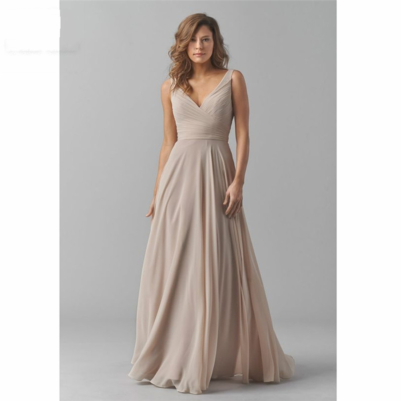 2020 Vintage Bridesmaid Dresses V-Neck Wedding Party Dress Pleat Chiffon Prom Party Gowns robe de soriee