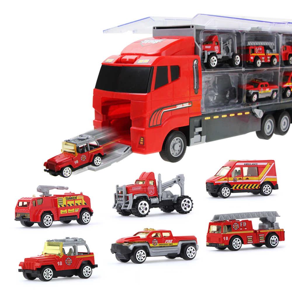 Legierung Feuer Lkw Spielzeug Auto Diecast Hubschrauber Container Lkw Kombination Fahrzeuge Pädagogisches Spielzeug Für Kinder Jungen Geschenk