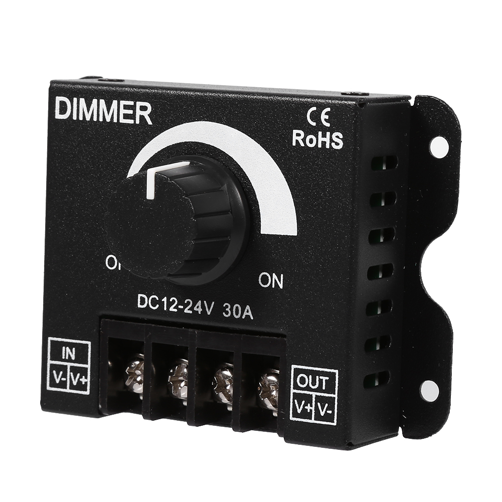 Knob Switch Aluminum Single Color LED Dimmer DC 12V 24V 30A Adjustable Brightness PWM Dimming Controller For LED Strip Lights