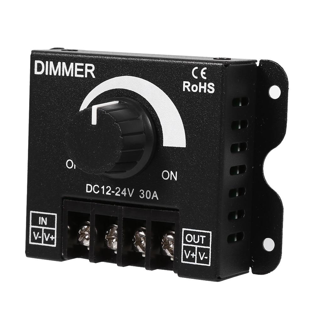 Knob Switch Aluminum Single Color LED Dimmer DC 12V 24V 30A Adjustable Brightness PWM Dimming Controller For LED Strip Lights