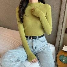 Suéteres de punto para mujer, ropa de invierno, suéteres de primavera básica de otoño, suéter ajustado para mujer, jersey de manga larga barato