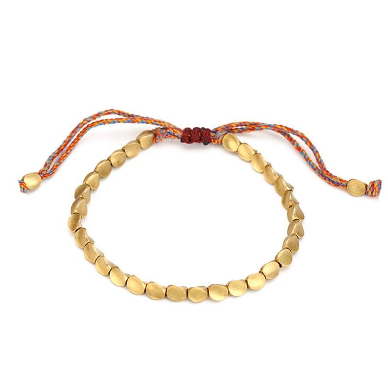 Handmade Tibetan Copper Bead Bracelet for Women Adjustable Rope Chain Men Bracelets Gold Color Braided Boho Vintage Jewelry Gift