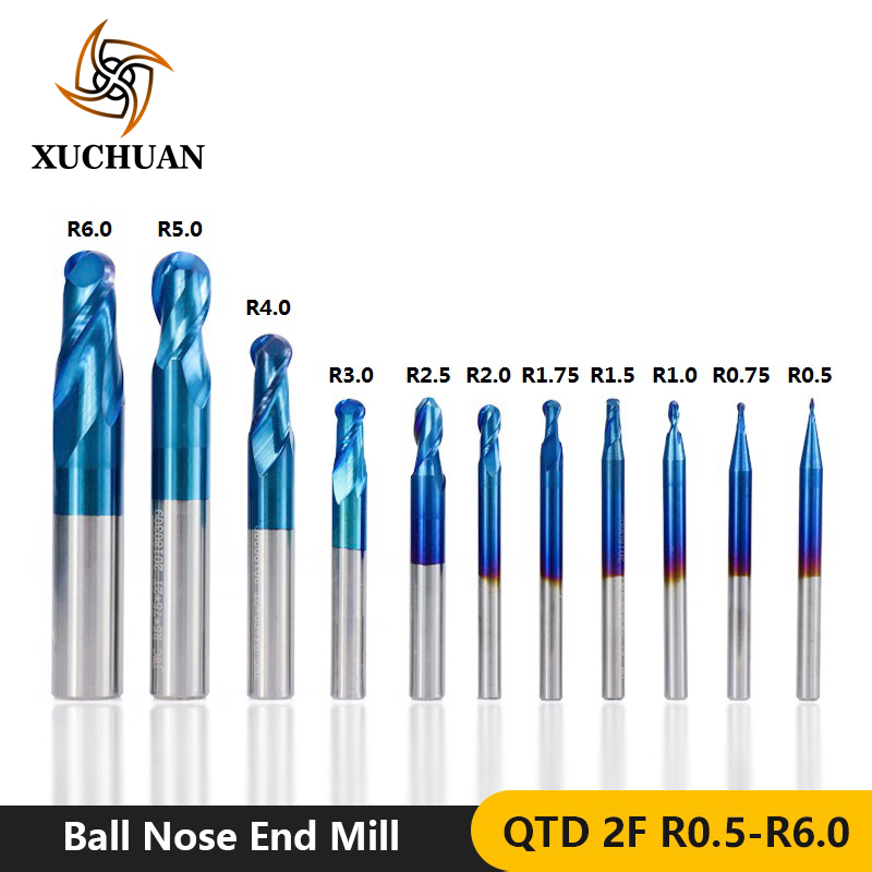 1pc R0.5-R6.0 Ball Nose End Mill HRC 50 CNC Milling Cutter Nano Blue Coated Engraving Bit  2 Flutes Carbide End Mill