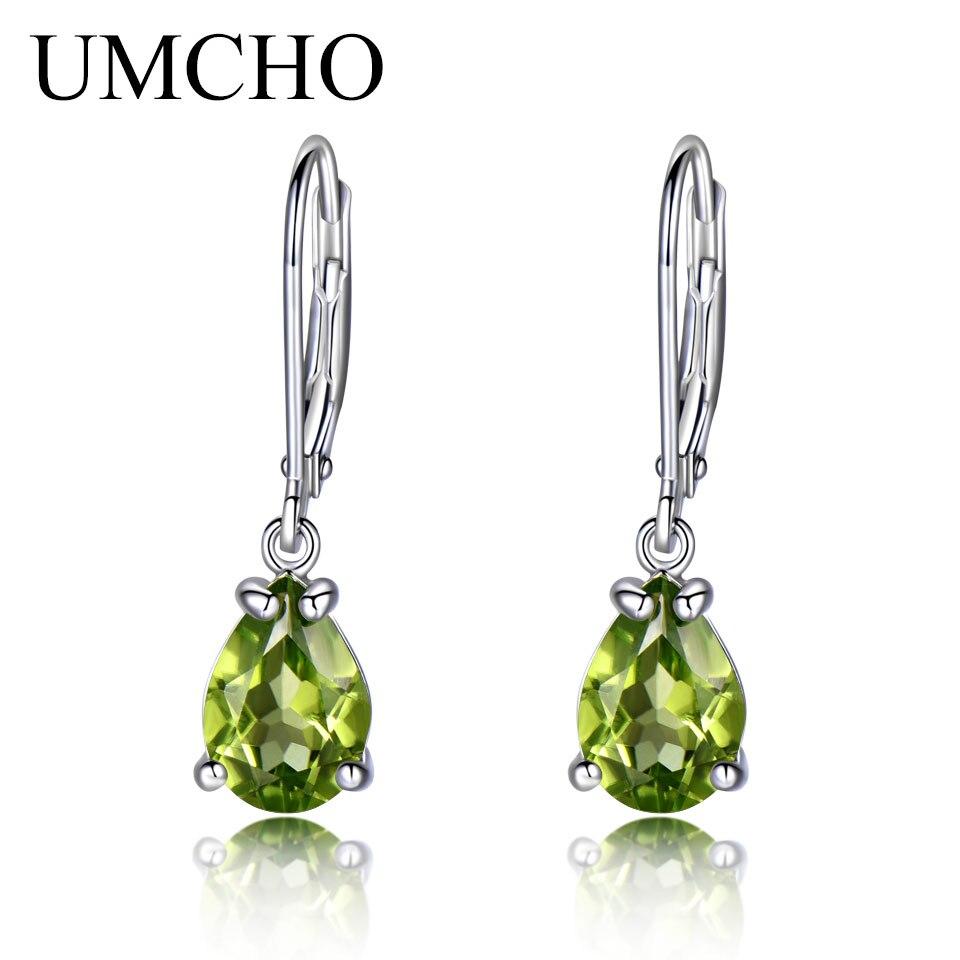 UMCHO Natural Peridot  Gemstone Earrings 925 Sterling Silver Stud Earrings Designer Jewelry Fine Earrings For Women Special Gift