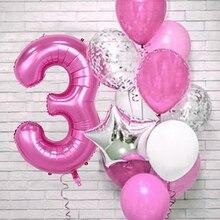 12 шт. розовый номер Фольга шар День рождения украшения воздушных шаров из латекса, для детей, для маленьких девочек 1 2 3 4 5 6 7 8 9 лет старый 1st на...