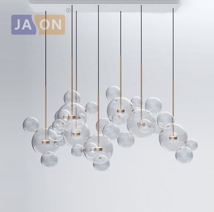LED Postmodern Iron Glass Bubbles Chandelier Lighting Lamparas De Techo Suspension Luminaire Lampen For Dinning Room