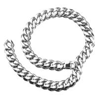 Hip Hop Cuban Link Miami Chain Silver Tone Stainless Steel Xxxtentacion Rapper Necklaces Male Jewelry 19mm With Tail