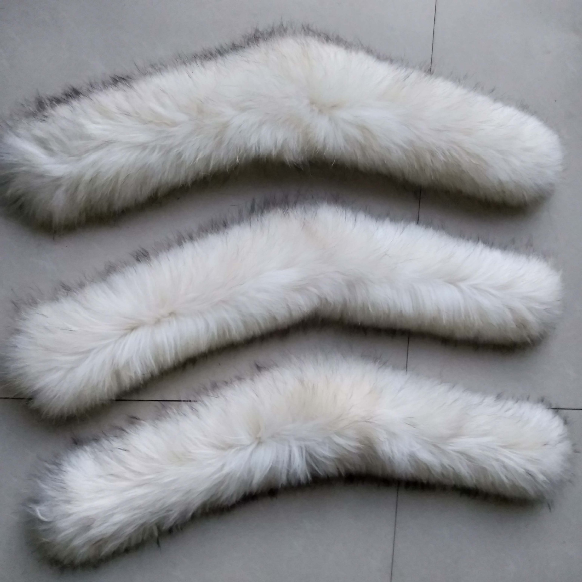 JKP White Natural Raccoon Fur Collar for Women Winter Warm Real Solid Color Raccoon Fur Scarf Fashion Hat Accessory High Quality