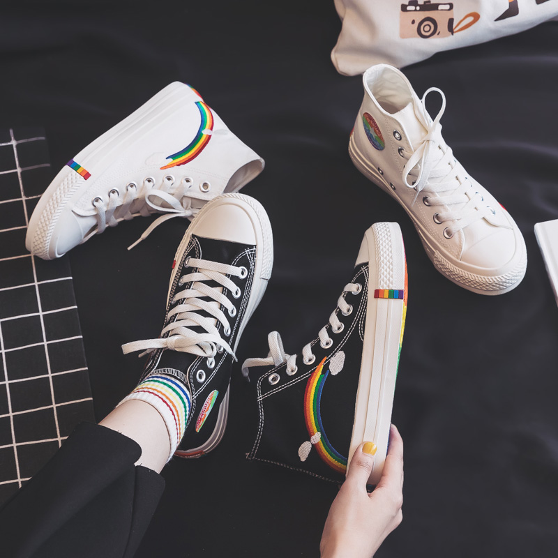Women's Fashion 2020 Vulcanized Shoes Woman Sneakers New Rainbow Retro Canvas Shoes Flat Fashion Comfortable High Shoes Women 2