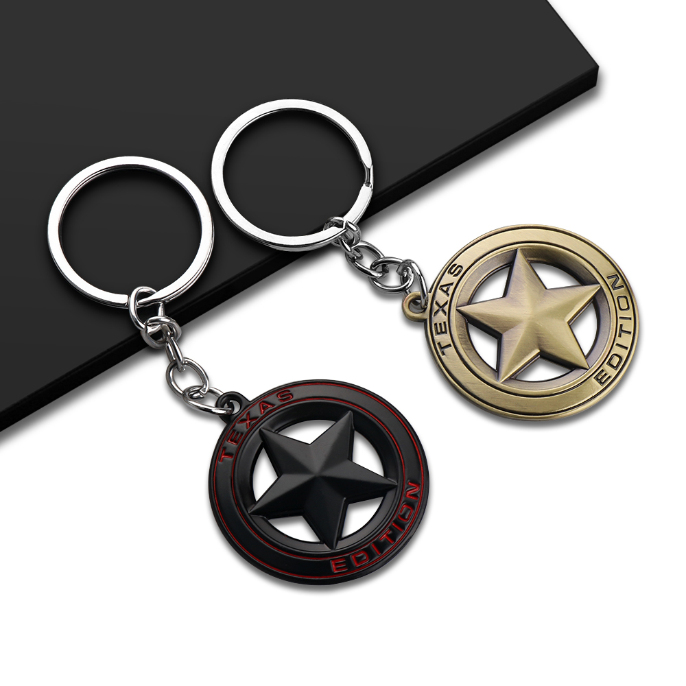 Car Styling TEXAS EDITION Star Emblem Car Keychain Keyring For Jeep Wrangler Renegade Grand Cherokee Liberty Auto Accessories