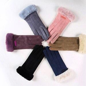 Women's Winter Gloves Full Finger Gloves Autumn Winter Windproof Warm Plus Velvet Gloves thick Plush Faux Rabbit Fur guantes new(China)