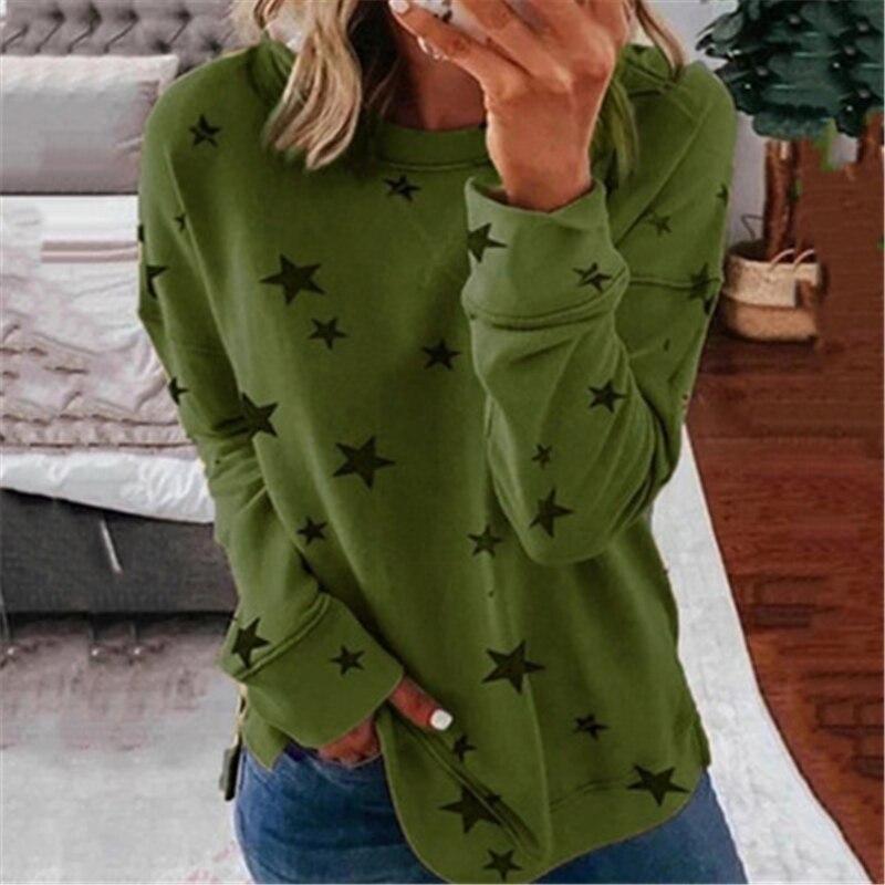 Размера плюс женская футболка с принтом со звездой осенние свободные