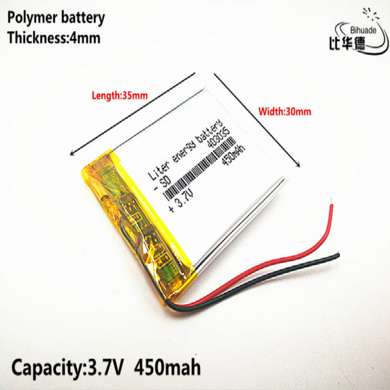 1pcs [SD] <font><b>3.7V</b></font>,450mAH,[<font><b>403035</b></font>] Polymer lithium ion / Li-ion battery for TOY,POWER BANK,GPS,mp3,mp4,cell phone,speaker image