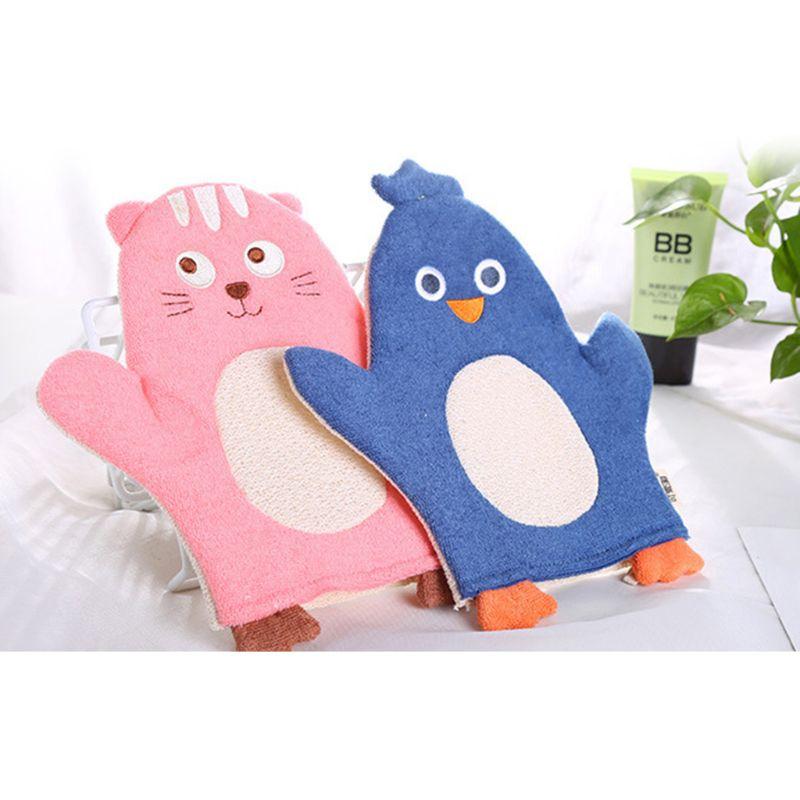 Children Baby Bath Glove Purifier Skid Resistance Body Massage Exfoliating Sponge Spa Foam Cartoon Bath Rubbing Bath Towel