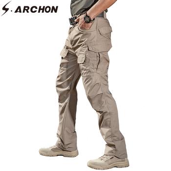 S ARCHON IX2 taktyczne bojówki wojskowe Cargo mężczyźni bawełna miasto armia SWAT spodnie bojówki męskie Casual Stretch wiele spodnie z kieszeniami XXXL tanie i dobre opinie Cargo pants Poliester COTTON Midweight New Men Military Tactical Pants Pełnej długości REGULAR Suknem Kieszenie Zipper fly