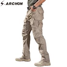 S ARCHON IX2 taktyczne bojówki wojskowe cargo mężczyźni bawełna miasto armia SWAT spodnie bojówki męskie Casual Stretch wiele spodnie z kieszeniami XXXL tanie tanio s archon Cargo pants Poliester COTTON Midweight New Men Military Tactical Pants Pełnej długości REGULAR Suknem Kieszenie