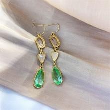FYUAN Korean Style Irregular Geometric Dangle Earrings for Women Bijoux Green Water Drop Crystal Statement Jewelry Gift