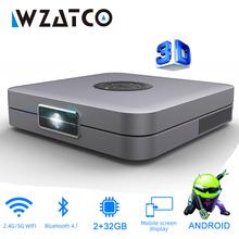 WZATCO D1 DLP 3D projektor 300 cal kina domowego obsługa rozdzielczości Full HD 1920x1080P 32GB z systemem Android 5G WIFI AC3 Video Beamer MINI projektor tanie tanio Korekcja ręczna Automatyczna korekcja CN (pochodzenie) 4 3 16 9 X2 0 800 ANSI lumens 960x540dpi 4000 Lumenów 30-200 cali