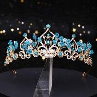 Новинка, корона принцессы, цветок, жемчуг, голубой кристалл, свадебная диадема, тиара, головной убор, украшение для волос, свадебные аксессуа...