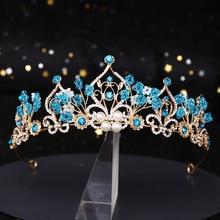 The New Princess Crown Flower Pearl Blue Crystal Bridal Diadem Wedding tiara Headpiece Hair Jewelry Wedding Hair Accessories цена и фото
