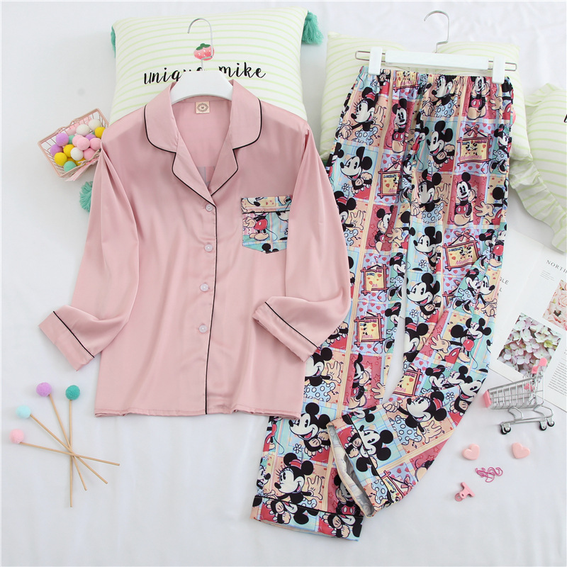 Womens Pajamas Sets Fashion Women Lovely Wear Leisure Long Sleeves Turn-down Collar Pocket Pyjamas Sets Cotton Leisure Sleepwear