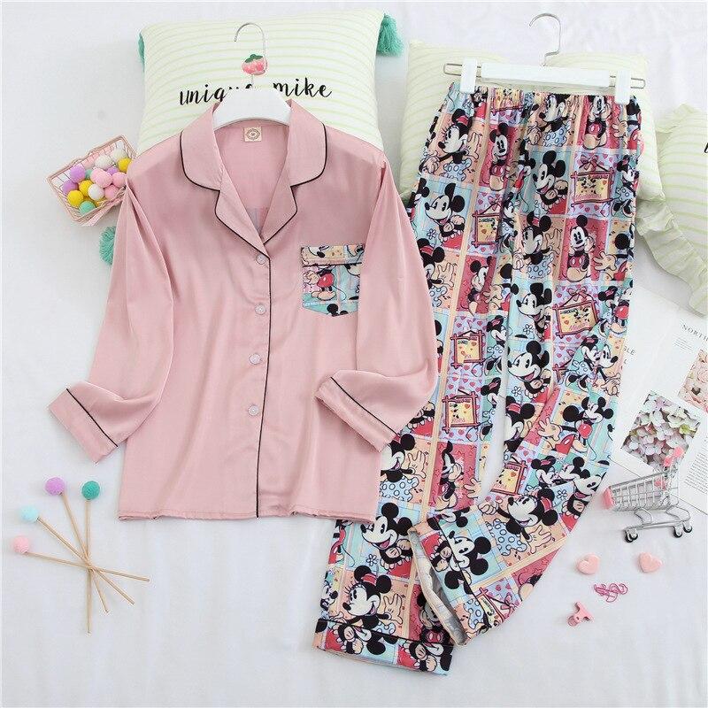 Womens Pajamas Sets Fashion Women Lovely Wear Leisure Long Sleeves Turn-down Collar Pocket Pyjamas Sets Cotton Leisure Sleepwear