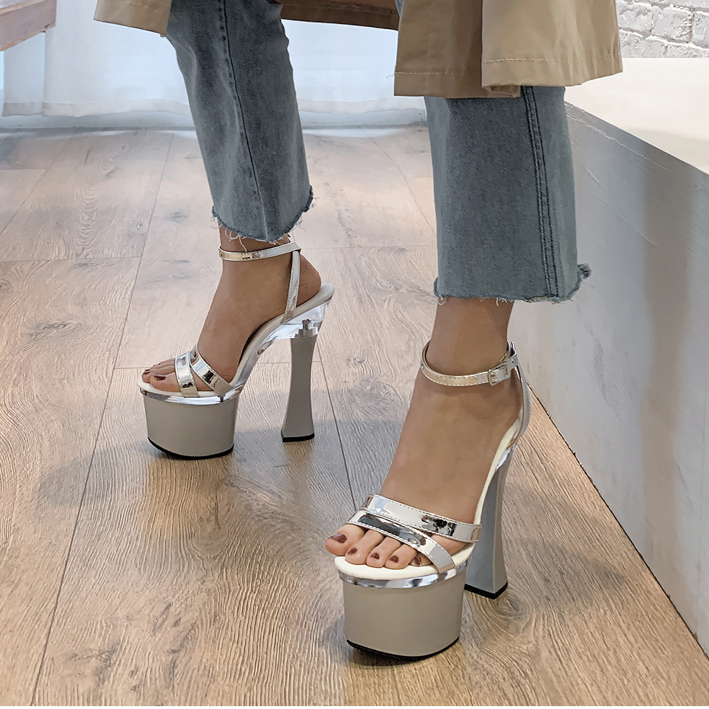 Karinluna New Lady Sexy Extreme High Heels Brand Design Shoes Women Party Platform ankle-strap Summer Sandals Woman