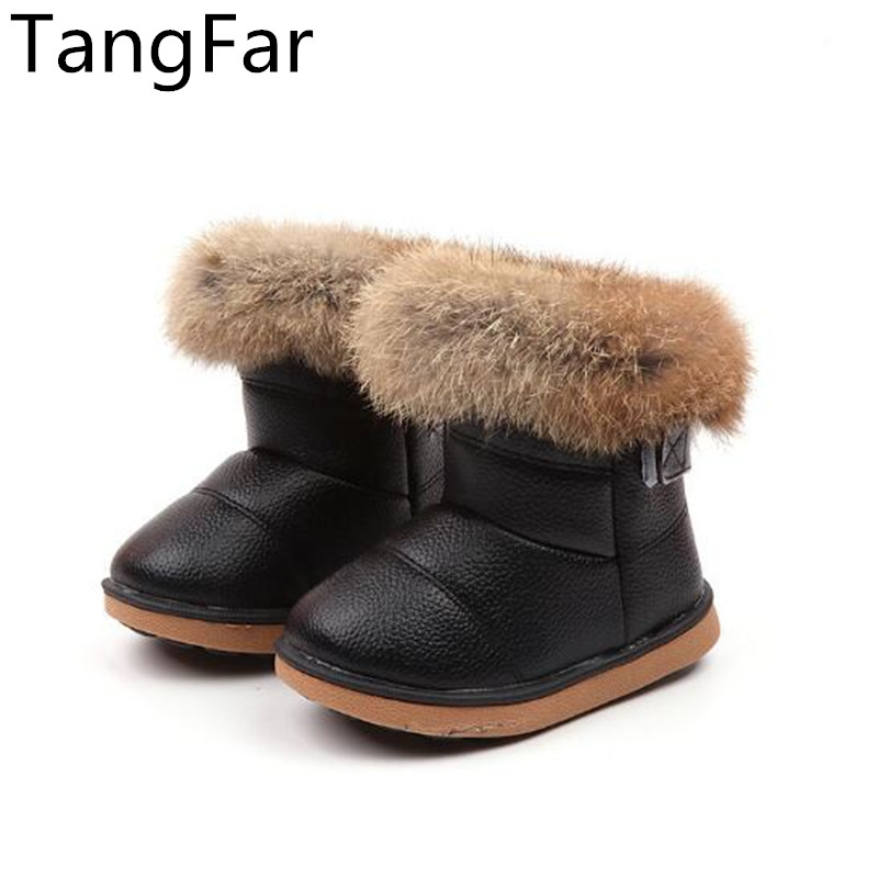 Children Rubber Boots Winter Leather Waterproof Soft-soled Fashion Girls Snow Boots Thick Fur Black Ankle Boot