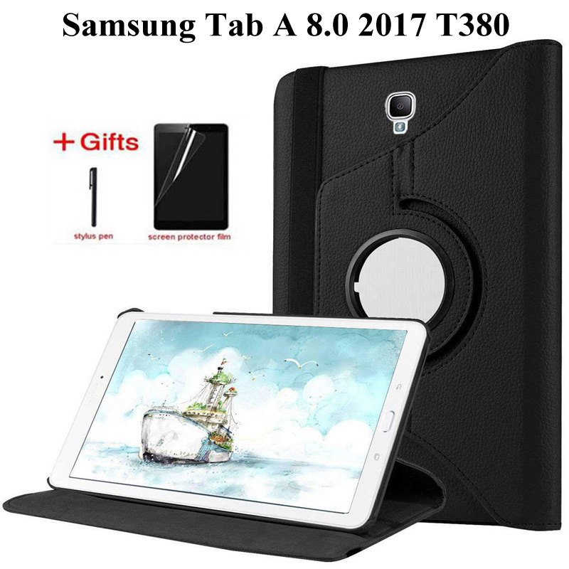 360 Degree Rotating PU Leather Case For Samsung Galaxy Tab A 8.0 2017 Cover For SM-T380 SM-T385 T380 T385 8.0 Inch Case +Film