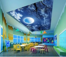 Beautiful night sky landscape painting  ceiling Wall Painting Living Room Ceiling Mural Photo Paper 3D