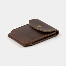 Cartera de cuero genuino hecha a mano para hombre, billetera con Clip para billetes, delgada con dinero de Metal, Vintage