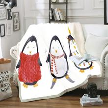 Soft Cozy Fleece Blanket 3D Christmas Lovely Penguin Print Throw Blanket for Beds Sofa Car Plush Bedspreads Winter Sheet Cover