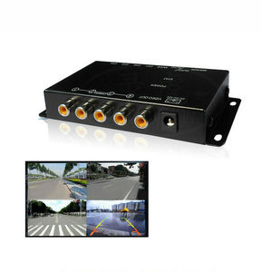 360° Monitoring 4-Way Car Parking View Camera Image Split-Screen Control Box Kit 4 View Video Switch