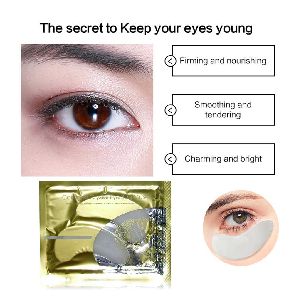 1 Pair = 2pcs 24K Gold Crystal Collagen Eye Mask Collagen Crystal Eye Mask Eye Gel แพทช์สำหรับ eye กระเป๋า Dark วงกลมลบ