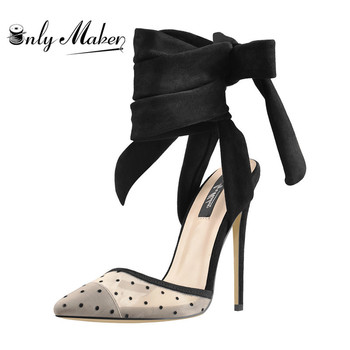 Onlymaker Pointed Toe 12CM Thin High heel Suede Strap Slingback  Stiletto Sandals Pumps Plus Size US5~US15 summer new 12cm high heeled sandals cross strap women sandals stiletto thin heel open toe sexy party bridals lady shoe 3a 4c