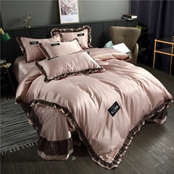 Washing Silk Four-piece Set Viscose Tencel Korean-style Solid Color Lace Bed Skirt Kit