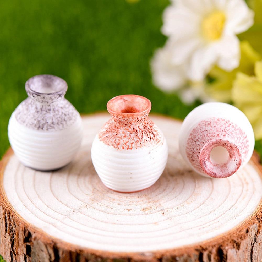 1 Pcs Resin Miniature Small Mouth Vase DIY Craft Accessory Home Garden Accessory Decoration Fine cut vase ornament|Vases| |  - title=