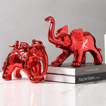 Elephant Figurine Ceramic Love-Gift Ornament Craft Plating Metallic Red Pop-Art