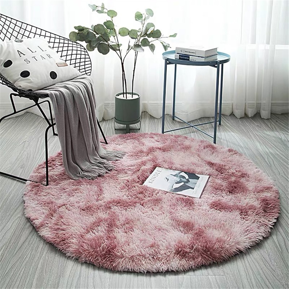 Pink Round Carpet Nordic Ins Style Gradient Colorful Rug For Living Room Bedroom Rugs Fur Mats Large Size Hanging Basket Mat image