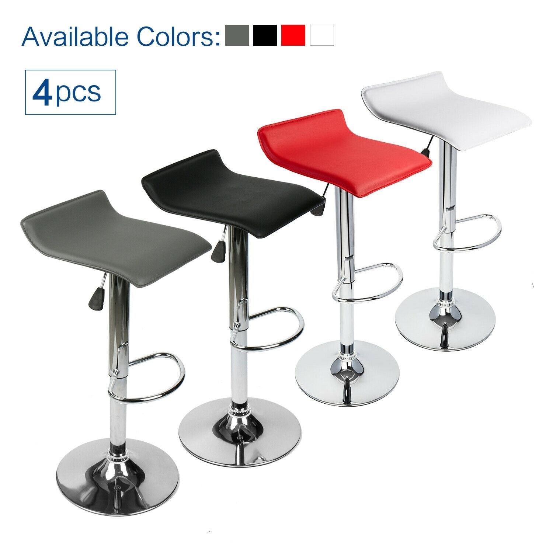 Set Of 4 Bar Stools Swivel Adjustable Dining Chair Pub Bistro Backless Desk Seat