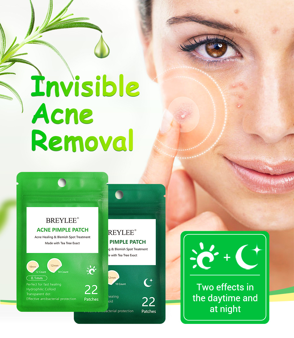BREYLEE 22 Patches Daily Night Tea Tree Essence Acne Pimple Patch Repair Acne Serum Face Skin Care Pimple Acne Treatment Sticker