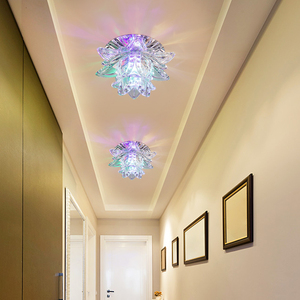Image 4 - Colorful Led Lotus Crystal Ceiling Chandelier Light Spot Light for Corridors Balconies Hallways Creative Plafonnier Luminaire